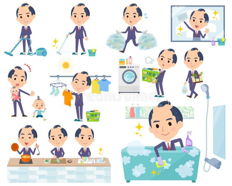 Japońscy samurajowie Businessman_housekeeping ilustracja wektor