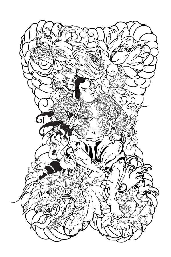 Japońscy samurajowie z liściem i smokiem tatuują pełnego ciało Ręka rysujący Tradycyjni Japońscy mężczyzna wektorowi ilustracji
