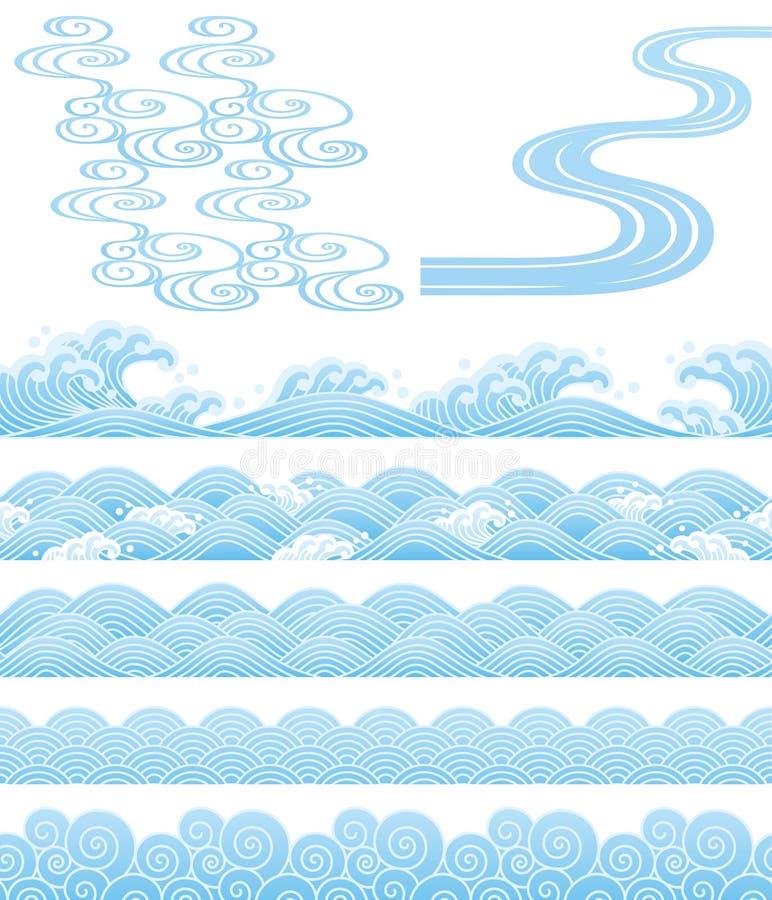 Japońscy tradycyjni wavess ilustracja wektor