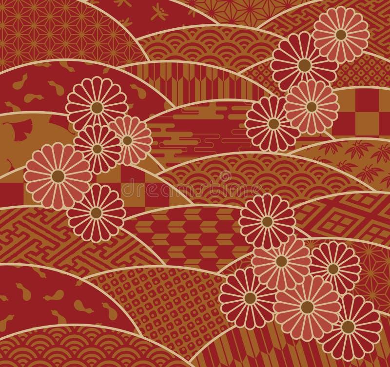 Japońscy tradycyjni wzory i chryzantema ilustracji