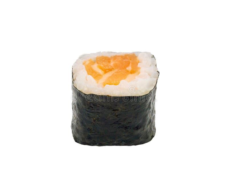Japońska łososiowa mak suszi rolka odizolowywająca na bielu fotografia royalty free