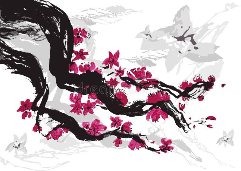 japońska śliwka ilustracji