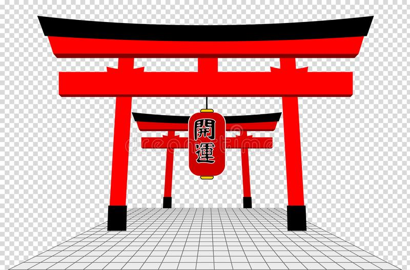 Japońska brama i Popielata podłoga ilustracja wektor