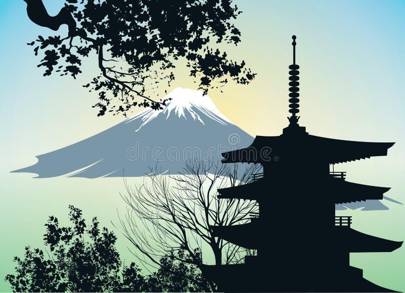 Japońska brama - Torii z górą ilustracja wektor