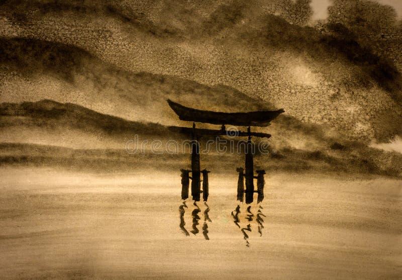 Japońska brama w wodzie royalty ilustracja