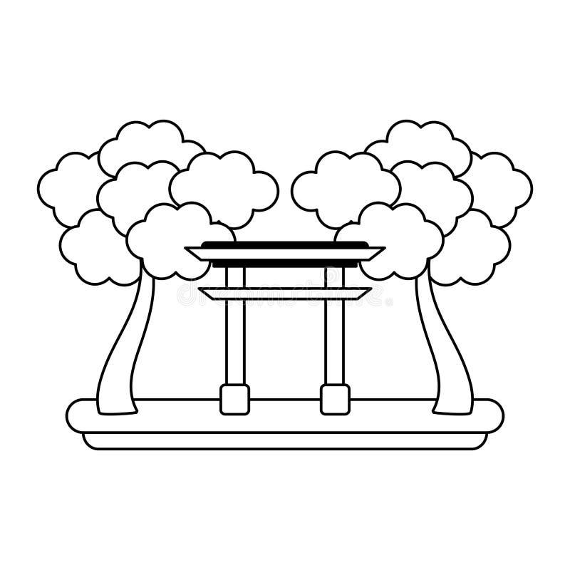 Japońska brama z drzewami czarny i biały royalty ilustracja