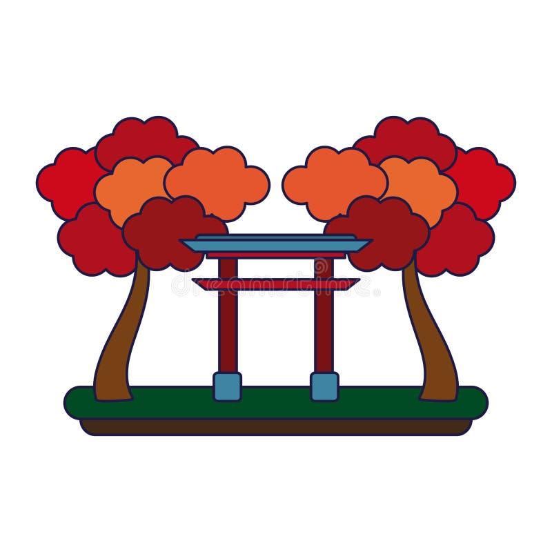 Japo?ska brama z drzewo niebieskimi liniami ilustracja wektor