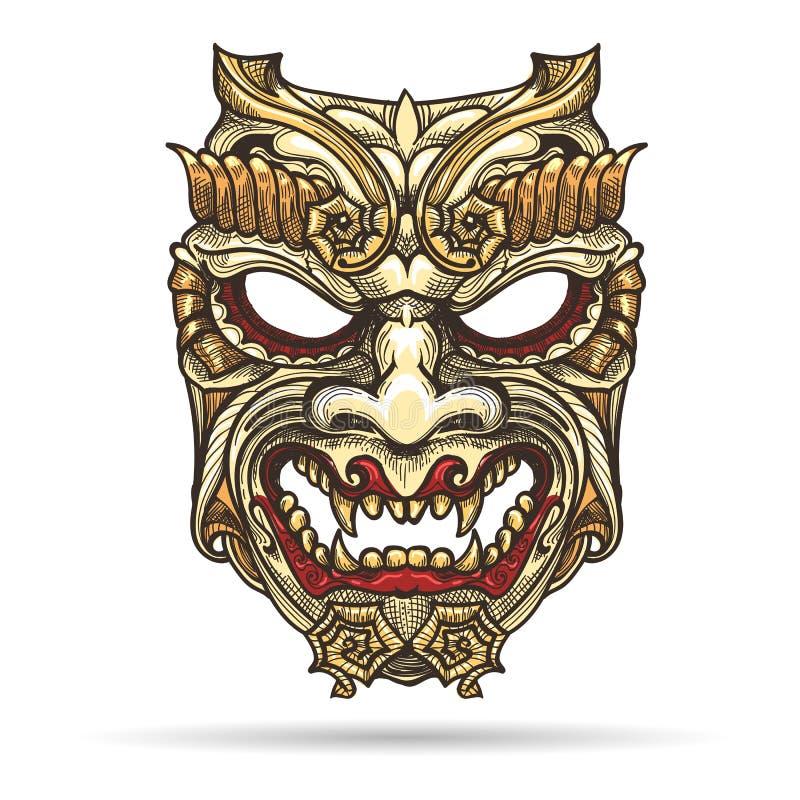Japońska demon maska royalty ilustracja