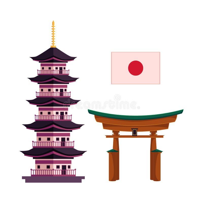 Japońska flaga państowowa, pagoda i torii brama, ilustracji
