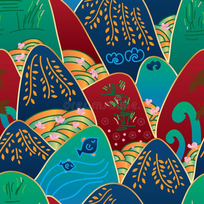 Japońska góra 4 sezonów bezszwowy wzór ilustracji