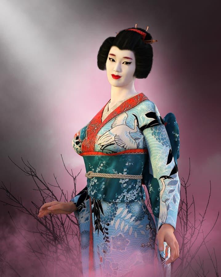 Japońska gejszy dziewczyna, Japonia kobieta ilustracja wektor