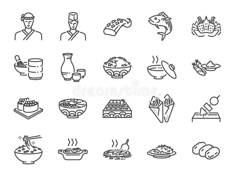 Japońska jedzenie linii ikona ustawia 2 Zawrzeć ikony jako suszi, sashimi, mak, suszi rolka, Tonkatsu i więcej, royalty ilustracja