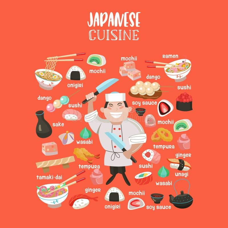 Japońska kuchnia Japoński szef kuchni Set Japoński tradycyjny dis ilustracji