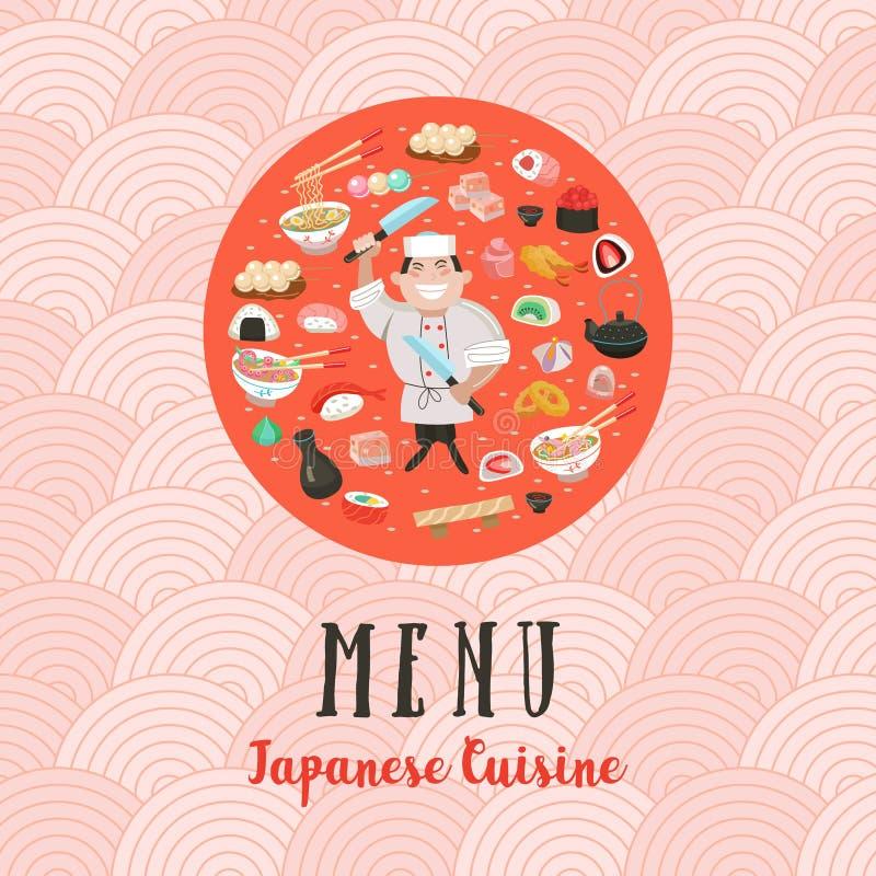 Japońska kuchnia Japoński szef kuchni Set Japoński tradycyjny dis royalty ilustracja