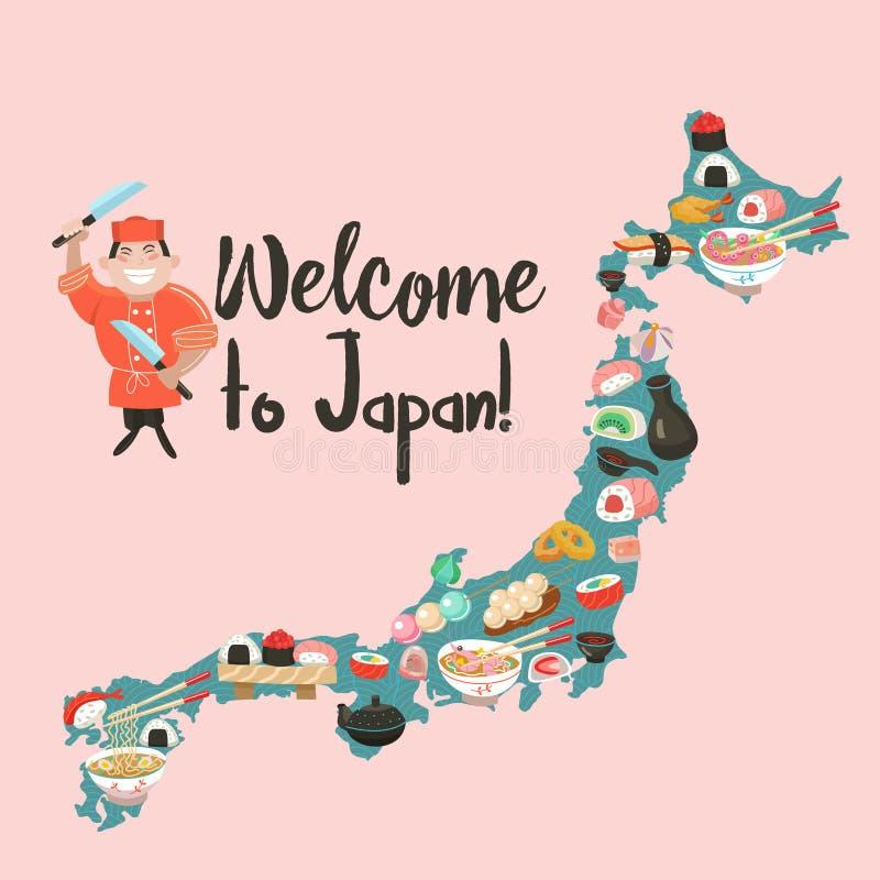 Japońska kuchnia Japoński szef kuchni Set Japoński tradycyjny dis ilustracja wektor