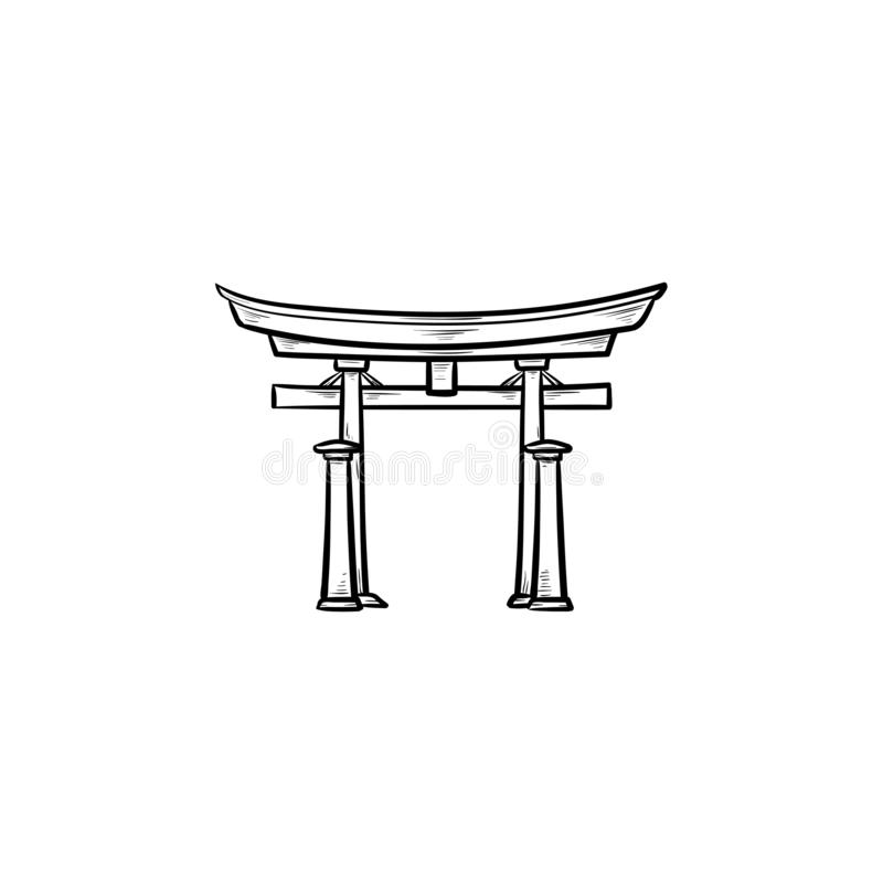 Japońska ręka rysująca brama konturu doodle ikona royalty ilustracja