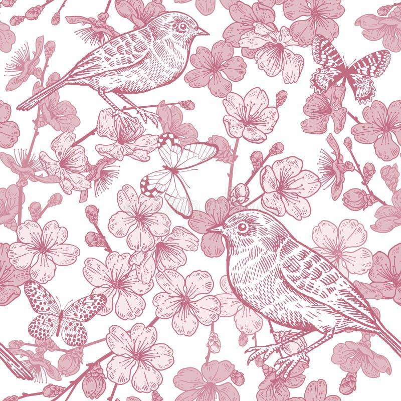 Japo?ska wi?nia, ptak i motyle, bezszwowy wzoru czerwony white ilustracja wektor