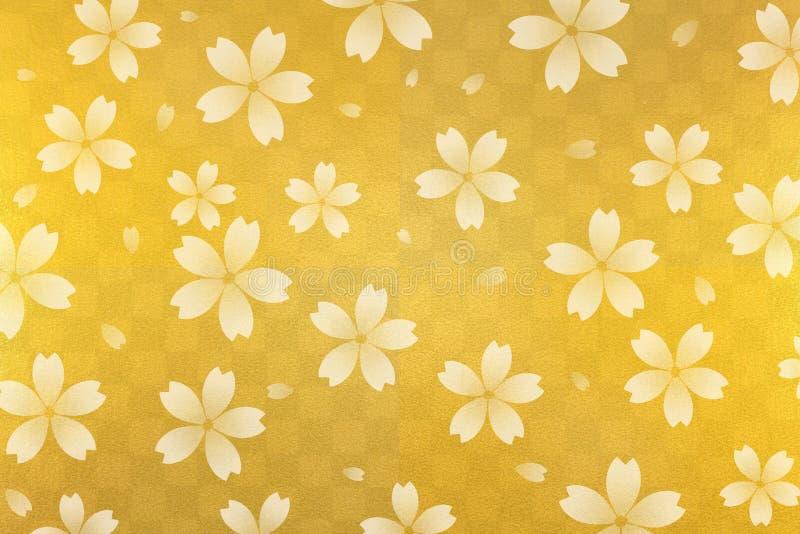 Japoński biały czereśniowego okwitnięcia abstrakt na złocistym w kratkę wzoru papieru tle royalty ilustracja