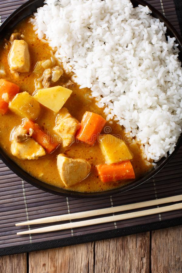 Japoński curry z ryżowym Kare Raisu zakończeniem vertical wierzchołek rywalizuje fotografia stock