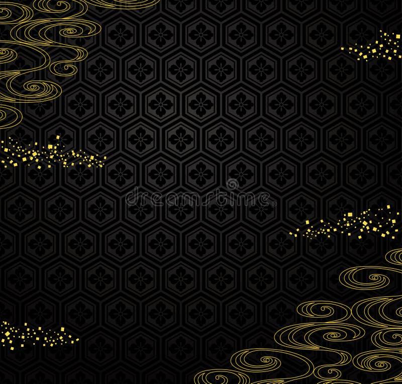 Japoński czarny tło z złotym proszkiem i rzeką. royalty ilustracja