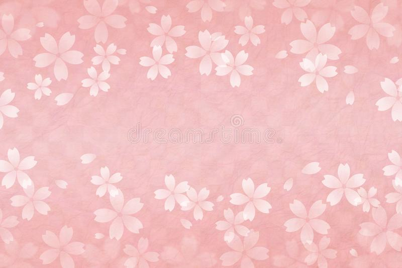Japoński czereśniowego okwitnięcia abstrakt na różowym w kratkę wzoru papieru tle ilustracji