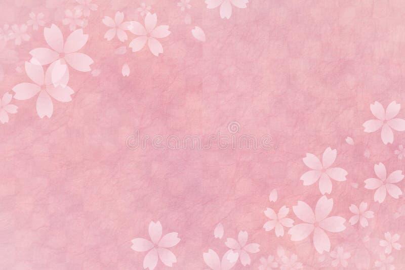 Japoński czereśniowego okwitnięcia abstrakt na różowym w kratkę wzoru papieru tle ilustracja wektor