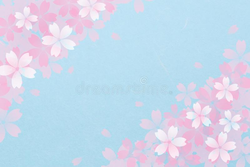 Japoński czereśniowego okwitnięcia abstrakt na rocznika błękitnego papieru tle ilustracji