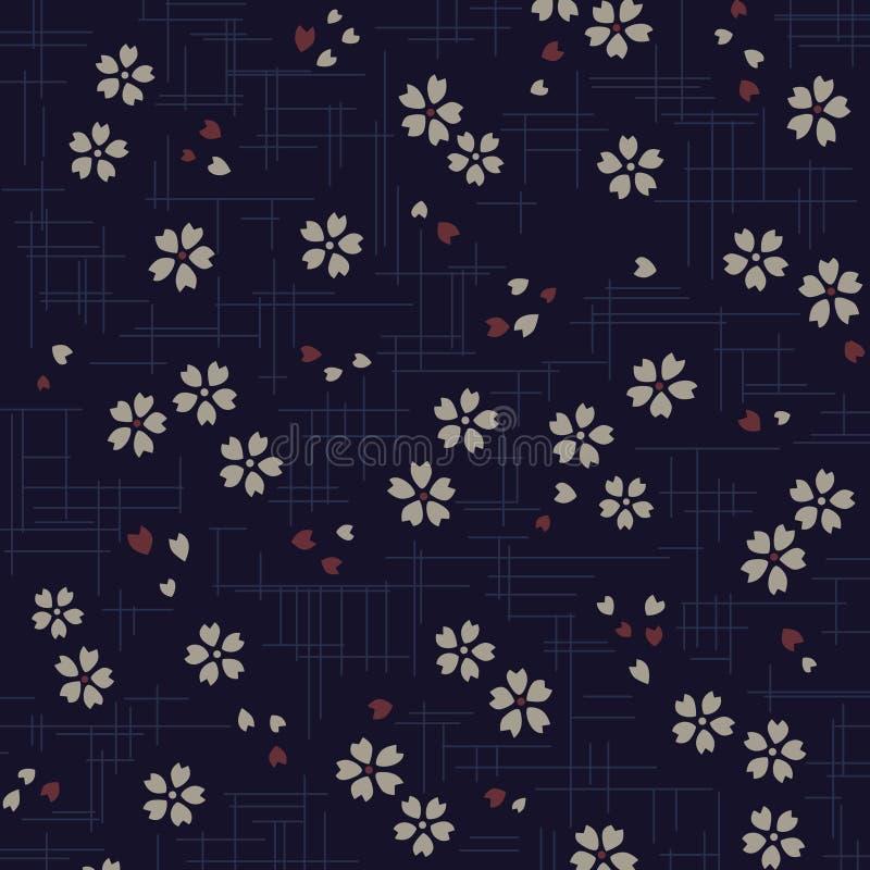 Japoński czereśniowego okwitnięcia wzór na błękitnym tle royalty ilustracja