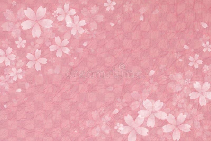 Japoński czereśniowy okwitnięcie na różowym w kratkę wzoru papieru tle royalty ilustracja