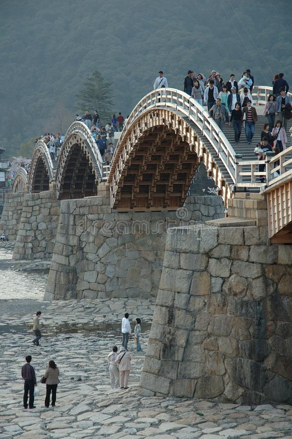 Japoński drewniany Most Kintai zdjęcia royalty free