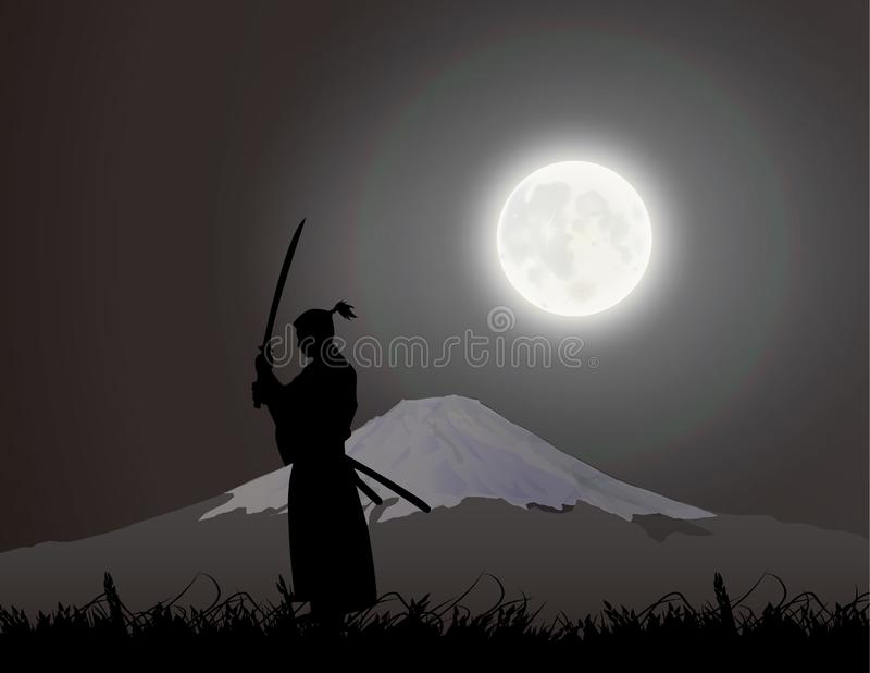 Japoński fechmistrz pod Fujiyama, ilustracji