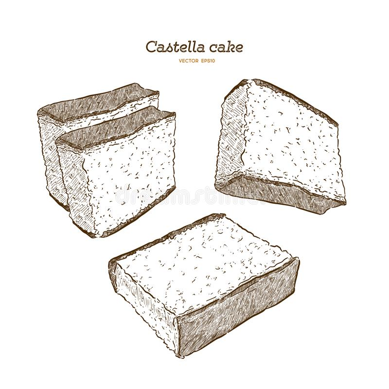 Japoński gąbka tort - castella Ręka remisu wektor royalty ilustracja