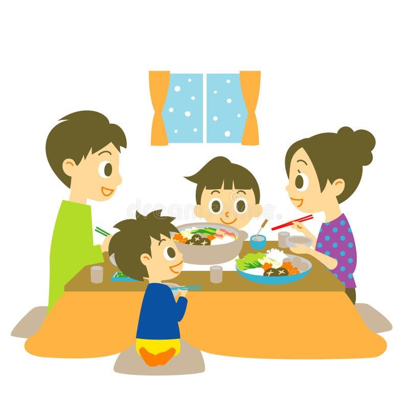 Japoński gorący garnka naczynie, rodzina ilustracji