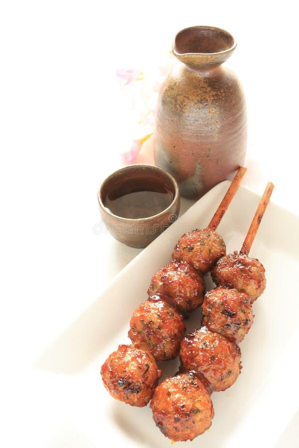 Japoński jedzenie, kurczak mięsna piłka Yakitori fotografia stock