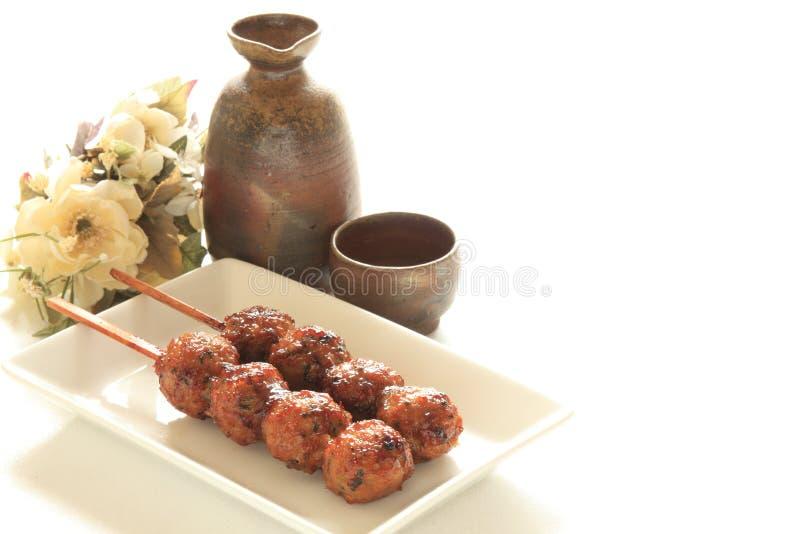 Japoński jedzenie, kurczak mięsna piłka Yakitori zdjęcia royalty free