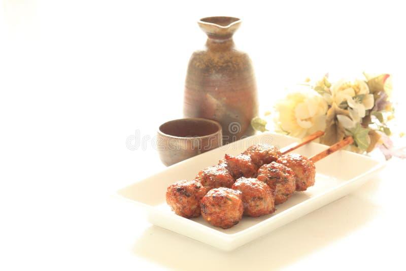 Japoński jedzenie, kurczak mięsna piłka Yakitori zdjęcia stock