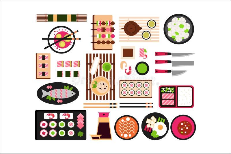 Japoński jedzenie set, Azjatycka kuchnia rozdaje odgórnego widoku wektoru ilustrację ilustracja wektor