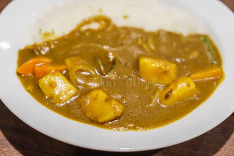 Japoński jedzenie stylu curry z ryż obraz royalty free
