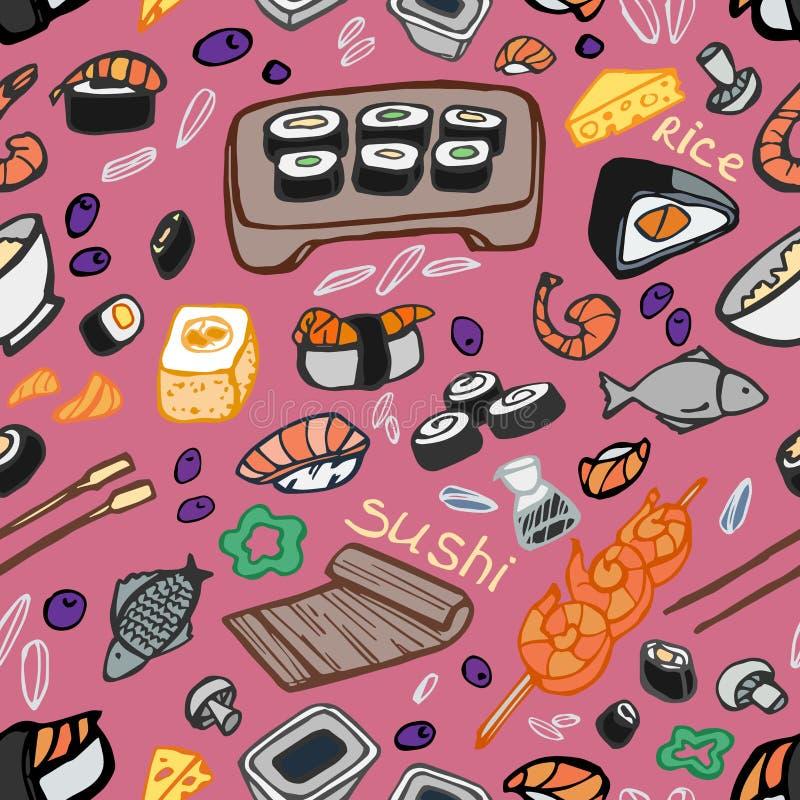 Japoński jedzenie - suszi doodle wzór royalty ilustracja