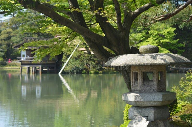 Japoński kamienny lampion obok stawu z herbacianym domem w tle, obraz royalty free