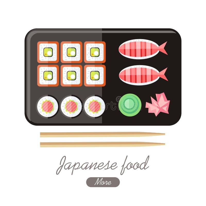Japoński Karmowy Ilustracyjny sieć sztandar Japonia suszi ilustracja wektor