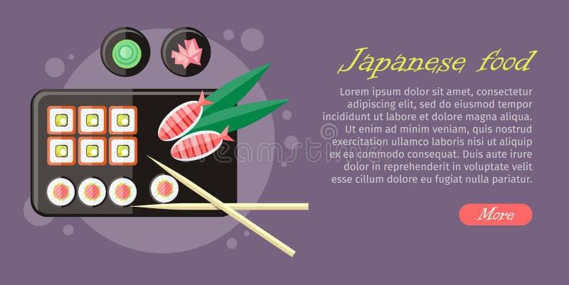 Japoński Karmowy Ilustracyjny sieć sztandar Japonia suszi ilustracji