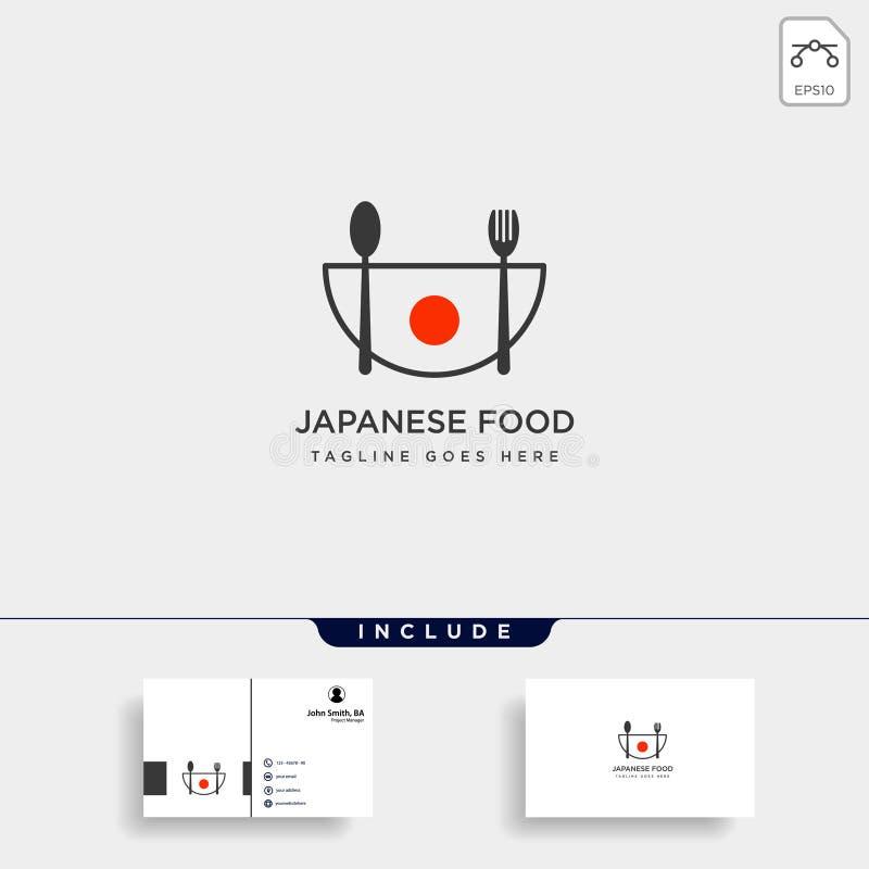 japoński karmowy rozwidlenie i łyżkowa prosta logo szablonu wektoru ilustracja royalty ilustracja