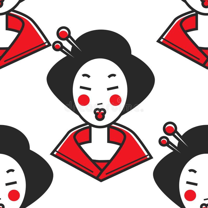 Japoński kobiety gejszy makeup i chopsticks w włosianej wiązce royalty ilustracja