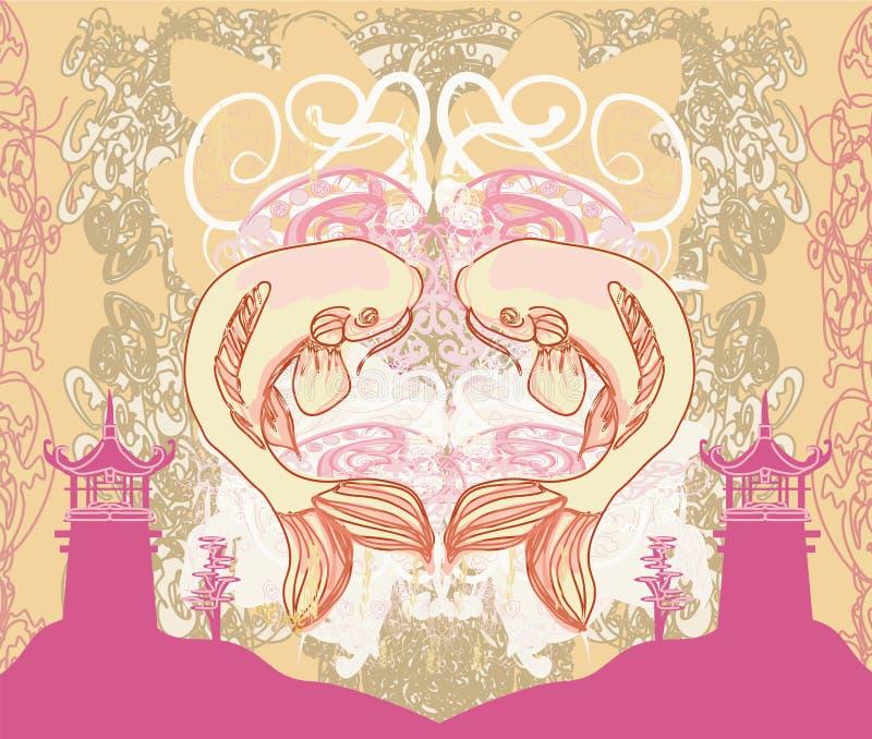 Japoński koja i antyczny budynek - abstrakt rama royalty ilustracja