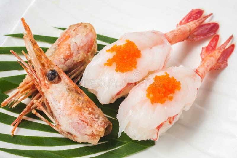 Japoński kuchni garneli suszi fotografia royalty free