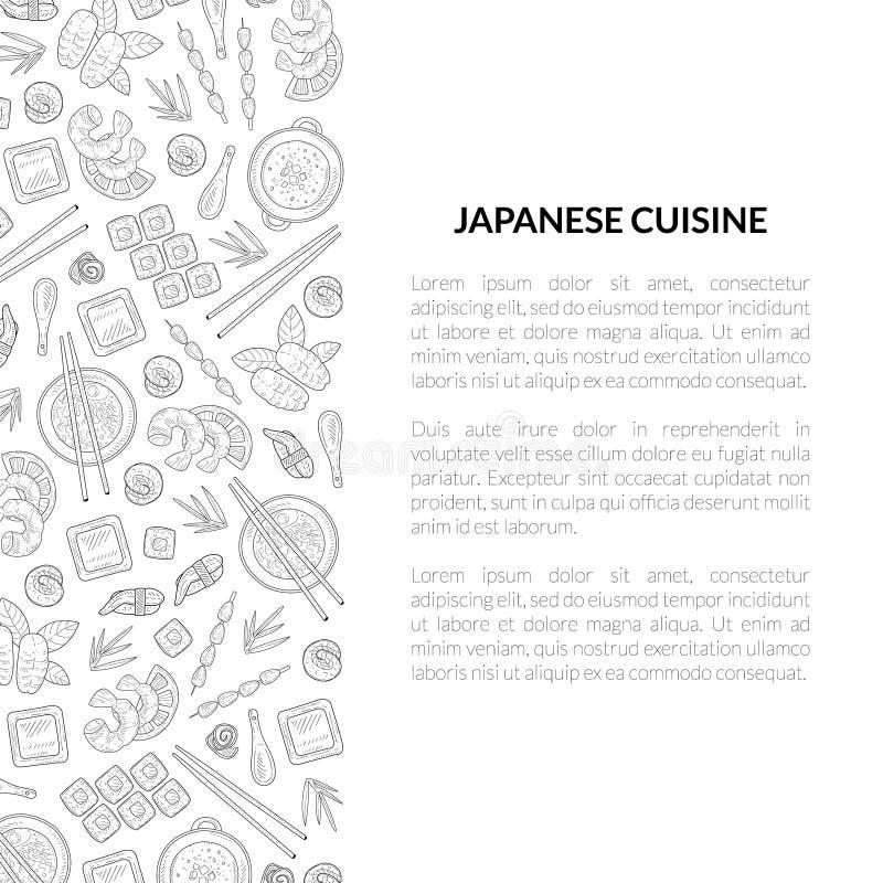 Japoński kuchnia sztandaru szablon z miejscem dla teksta, azjaty Karmowa ręka Rysującego wzoru i Karcianego szablonu Dla restaura ilustracja wektor