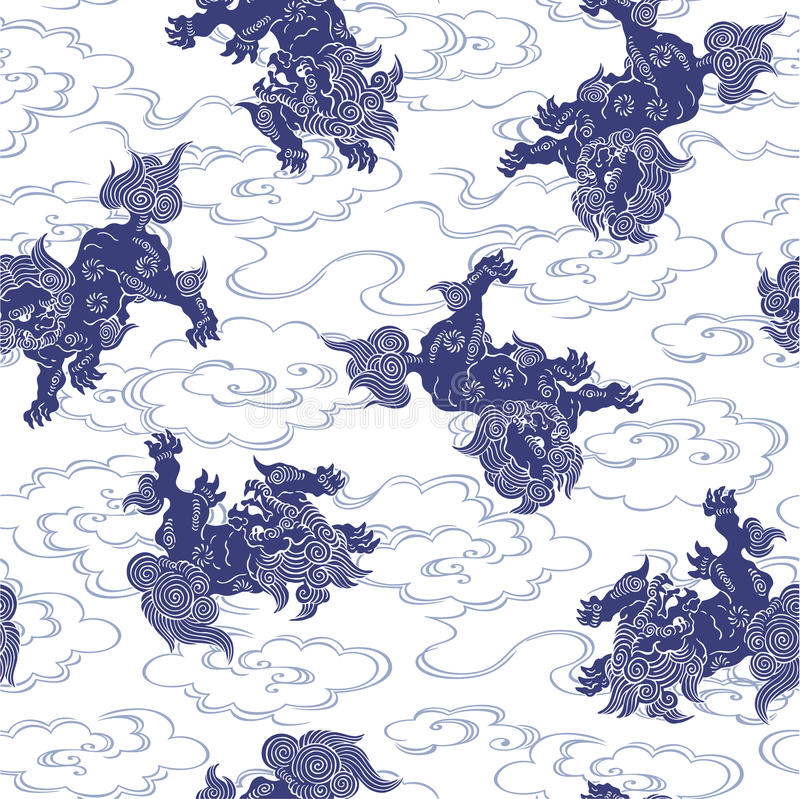 Japoński lwa wzór ilustracji