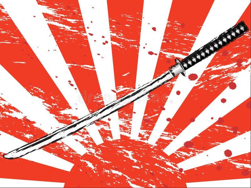 japoński miecz samurajski royalty ilustracja