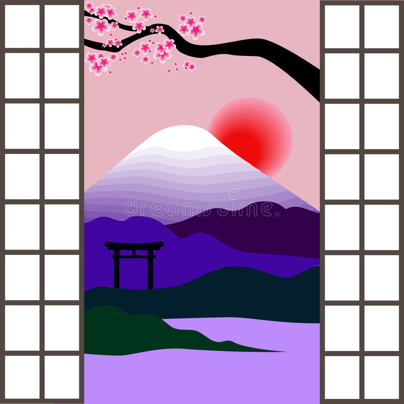 japoński okno royalty ilustracja